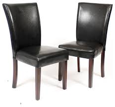 Leather Parsons Chairs Pau Black Leatherette Parsons Chairs With Cherry Finish Wood Legs