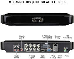 home theater dvr night owl 8 channel 4 camera indoor outdoor wired 1080p 1tb dvr