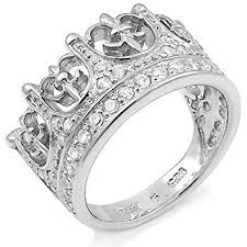 mens crown rings images Mens large iced out kings crown fleur de lis cz sterling silver jpg