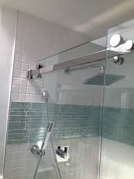 Bathroom Shower Wall Ideas Gray Glass Tile Shower Room With Mosaic Accent Bathroom Wall