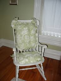 green white flower pattern wooden rocking chair cushions for