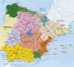 physical map of spain spain regions map