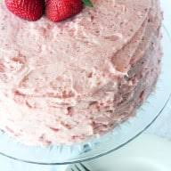 chocolate cake with fresh strawberry buttercream frosting cake