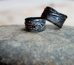 artisan wedding rings wedding rings artisan set tree bark his and by codysanantonio