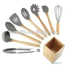 ustensile de cuisine silicone ustensil de cuisine 5 pcs ensemble bambou ustensile cuisine en