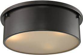 Flush To Ceiling Light Fixtures Elk 11811 3 Modern Rubbed Bronze Flush Ceiling Light