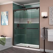 Sliding Tub Shower Doors Shop Dreamline Encore 50 In To 54 In W Frameless Rubbed Bronze