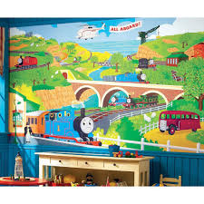 kids wall murals wall decor the home depot 10 5 ft x 6 ft thomas the train chair rail ultra strippable prepasted mural