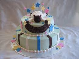 sheep baby shower cake with fondant stripes stars banner and