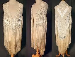 white silk ribbon vintage white boho macrame crochet silk ribbon fringe flapper