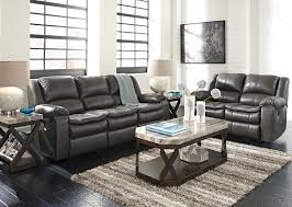 Ashley Reclining Loveseat With Console Living Room Gray Leather Reclining Sofa Ralston Power Silver