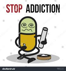 cartoon alcohol abuse bad character traits stop addiction marijuana stock vector