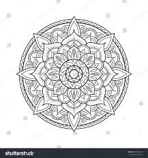 doodle presentations mandala element symmetric zentangle black vector stock vector