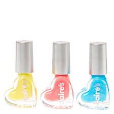 3 pack shimmer heart water based nail polish set claire u0027s