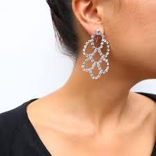 dramatic earrings multi hoop clear rhinestone dramatic earrings clip on