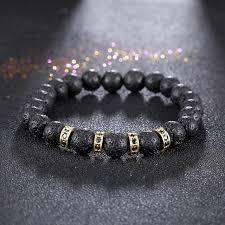 rose stone bracelet images 2017 jewelry men black lava rock stone bracelet rose gold color jpg