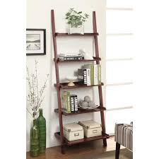 cherry wood corner bookcase furniture picture frame for wall decor by ladder bookcase
