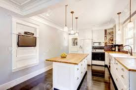 how to make a kitchen island with stock cabinets kitchen interior in white tones with hardwood counter tops kitchen