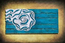 teal blue home decor handmade distressed wooden seattle city flag vintage art