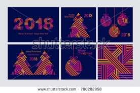 new year wrapping paper merry christmas and happy new year 2018 free vector pack