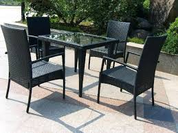 black wicker patio furniture sets with small square table and