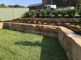 Backyard Feature Wall Ideas Sandstone Blocks For Retaining Walls Parks Sloping Sites Front