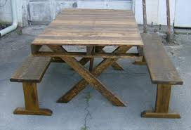 Wooden Picnic Table Plans Pallet Wood Picnic And Dining Table Pallet Furniture Diy