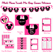 mouse baby shower printable package fuchsia pink