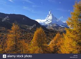 matterhorn in autumn switzerland valais zermatt stock photo