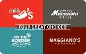 chili gift card free brinker 4 choice 10 gift card chili macaroni grill on the