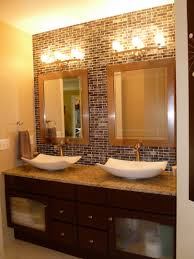 Glass Tile Bathroom by Vanity Makeover With Gel Stain Granite Counters Vessel Sinks And
