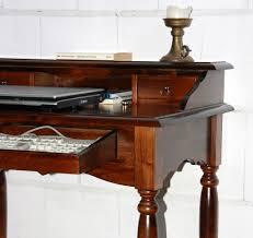 Echtholz Schreibtisch Sekretär 78x90x52cm 1 2 Schubladen Pappel Massiv Nussbaumfarben