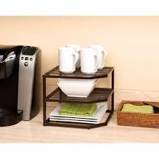 Kitchen Cabinet Organizer Racks Amazon Com Seville Classics 2 Tier Corner Shelf Counter And