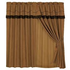 Chocolate Curtains With Valance Wrangler Western Drapes With Coordinating Valance Cabin Place