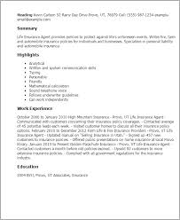 Insurance Resume Examples by Mesmerizing Insurance Agent Resume 88 In Resume Sample With