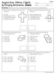 free surface area and volume of prisms quiz geometry worksheets
