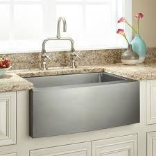 Optimum Stainless Steel Farmhouse Sink Curved Apron Kitchen - Apron kitchen sinks