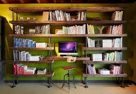 Timber Bookshelf 27 Ingenious Industrial Home Offices With Modern Flair