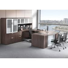 step front executive u shaped desk with frosted glass and hutch