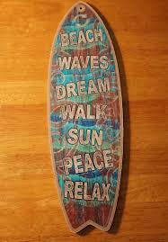 beach waves dream sun peace relax rustic surfboard sign surfer