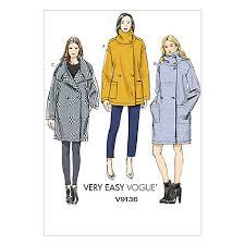 buy vogue women u0027s very easy coat sewing pattern 9136 john lewis