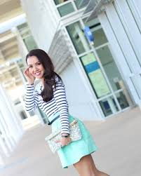 stylishpetite com mint skirt and striped tee plus banana