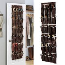 favorable 24 pockets space door hanging shoes organizer mesh