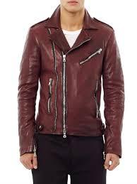 biker waistcoat balmain distressed leather biker jacket in red for men lyst