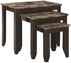 marble top nesting tables amazon com monarch specialties 3 piece marble look top nesting
