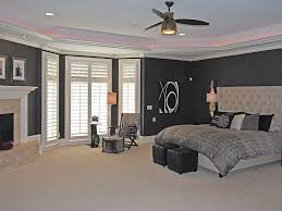 Master Bedroom With Fireplace Contemporary Master Bedroom With Stone Fireplace U0026 Bay Window In