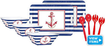 Nautical Themed Dinnerware Sets - striped nautical theme party party city