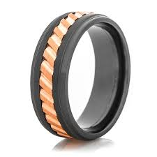 mens spinner rings black spinner ring with copper inlay titanium buzz