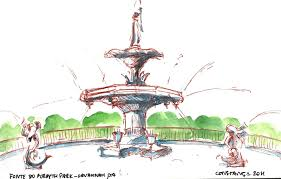 sketching the world the fountain at forsyth park in savannah ga