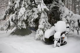 video motorcycle camping in the blizzard bennett there done that bdn photographer troy r bennett s motorcycle and tent sit covered in snow saturday morning feb